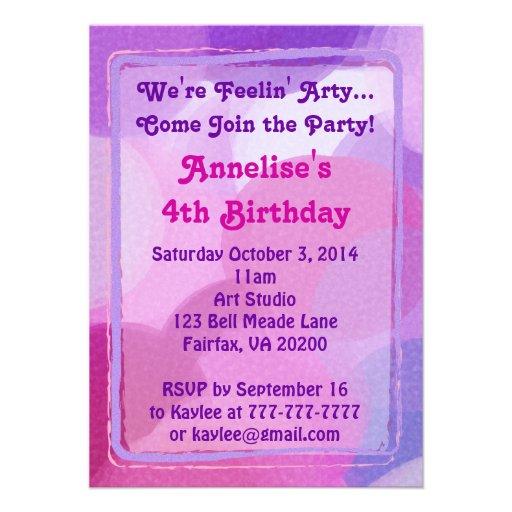 Pink Purple Art Party Paint Dots Invitation