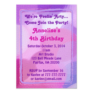 "Pink Purple Art Party Paint Dots Invitation 4.5"" X 6.25"" Invitation Card"