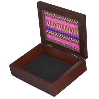 Pink & Purple Aztec Tribal Borders Keepsake Boxes