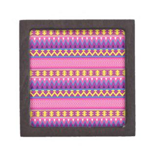 Pink & Purple Aztec Tribal Borders Premium Keepsake Box