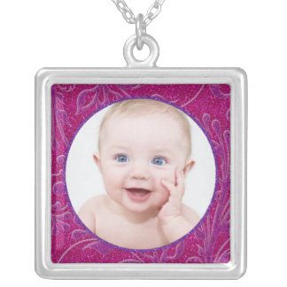 Pink Purple Baby Photo Template Necklace