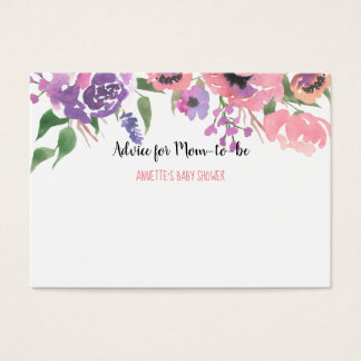 Pink Purple | Baby Shower | Advice For Mom To Be Business Card