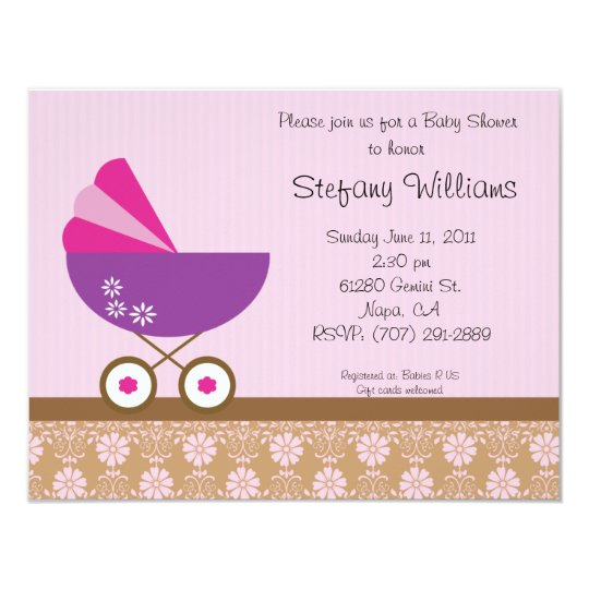 Pink & Purple Baby Shower Invitation