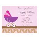"Pink & Purple Baby Shower Invitation 4.25"" X 5.5"" Invitation Card"