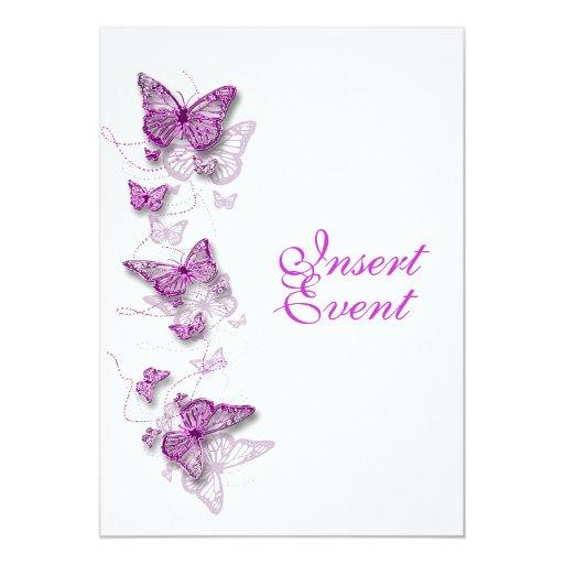 pink purple birthday engagement wedding 5x7 paper invitation card