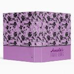Pink, Purple & Black Flowers 3 Ring Binders
