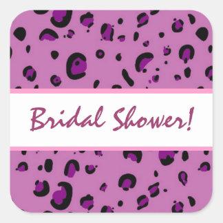 Pink Purple Black Leopard Bridal Shower Square Sticker