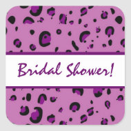 Pink Purple Black Leopard Bridal Shower zazzle_sticker