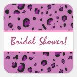 Pink Purple Black Leopard Bridal Shower Square Stickers