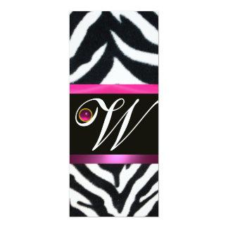 PINK,PURPLE BLACK WHITE ZEBRA FUR MONOGRAM fuchsia Card