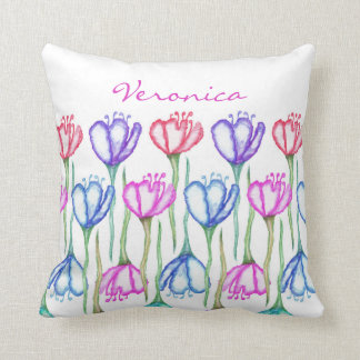 Pink Purple Blue and Red Watercolor Tulip Monogram Throw Pillow