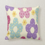 Pink, purple, blue and yellow flowers throw pillow