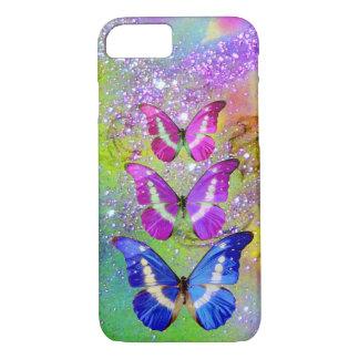 PINK PURPLE BLUE BUTTERFLIES,GREEN GOLD SPARKLES iPhone 7 CASE