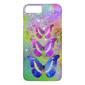 PINK PURPLE BLUE BUTTERFLIES,GREEN GOLD SPARKLES iPhone 7 PLUS CASE