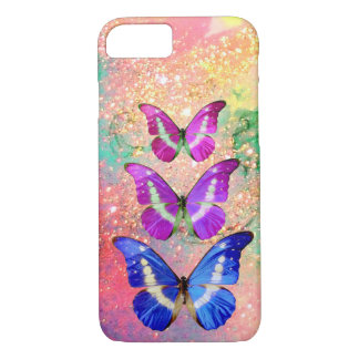 PINK PURPLE BLUE BUTTERFLIES IN GOLD SPARKLES iPhone 7 CASE