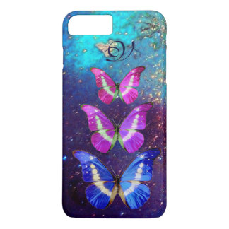 PINK PURPLE BLUE BUTTERFLIES IN GOLD SPARKLES iPhone 7 PLUS CASE