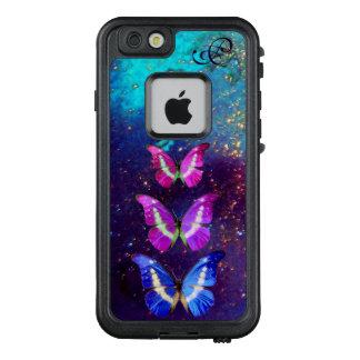 PINK PURPLE BLUE BUTTERFLIES IN GOLD SPARKLES LifeProof® FRĒ® iPhone 6/6S CASE