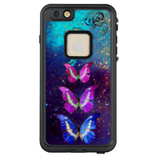 PINK PURPLE BLUE BUTTERFLIES IN GOLD SPARKLES LifeProof FRĒ iPhone 6/6S PLUS CASE