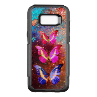PINK PURPLE BLUE BUTTERFLIES IN GOLD SPARKLES OtterBox COMMUTER SAMSUNG GALAXY S8+ CASE