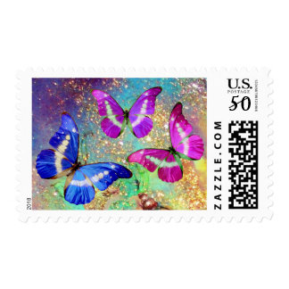 PINK PURPLE BLUE BUTTERFLIES IN GOLD SPARKLES POSTAGE