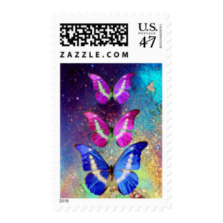 PINK PURPLE BLUE BUTTERFLIES IN GOLD SPARKLES POSTAGE STAMP