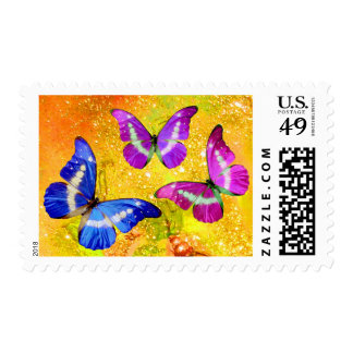 PINK PURPLE BLUE BUTTERFLIES IN GOLD SPARKLES STAMP
