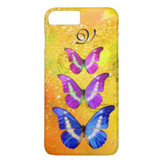 PINK PURPLE BLUE BUTTERFLIES IN GOLD YELLOW iPhone 7 PLUS CASE