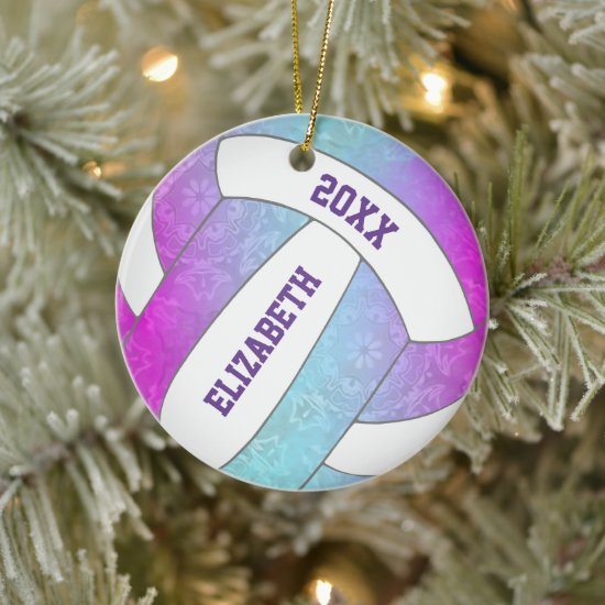 pink purple blue colorful girly volleyball ceramic ornament