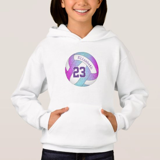 pink purple blue colorful girly volleyball hoodie