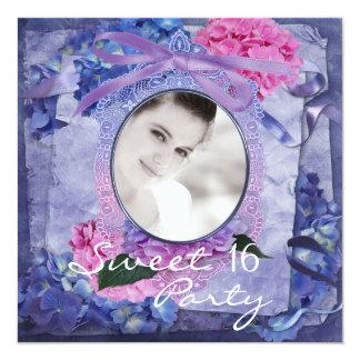 Pink Purple Blue Hydrangea Photo Sweet 16 Party Invitations
