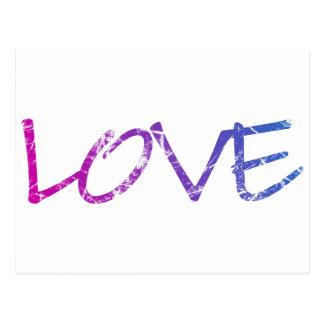 Pink, Purple, Blue Love Vintage Postcard