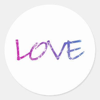 Pink, Purple, Blue Love Vintage Round Sticker