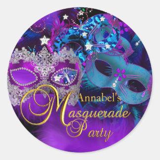 Pink Purple & Blue Masks Masquerade Party Sticker