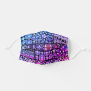 Pink Purple Blue Mexican Talavera Mosaic pattern Face Mask