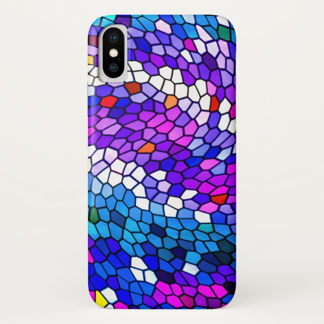 Pink Purple Blue Mosaic Tile Pattern iPhone X Case