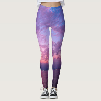 Pink, purple & blue sunset photography leggings