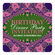 Pink Purple Bohemian Birthday Dinner Party Invitation