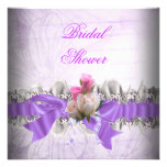 Pink Purple Bridal Shower White Lace Garter Invitation