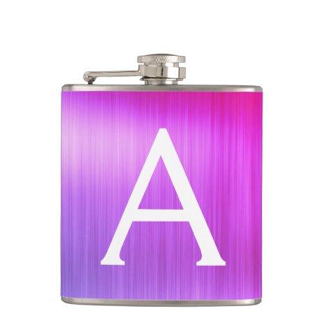 Pink - Purple Brushed Metal Monogram Name Flask
