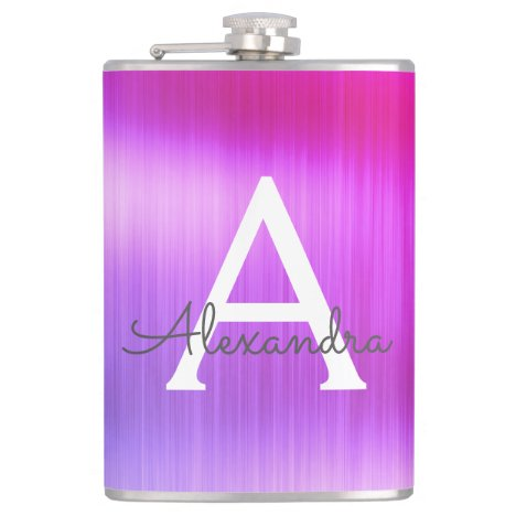 Pink - Purple Brushed Metal Monogram Name Flask