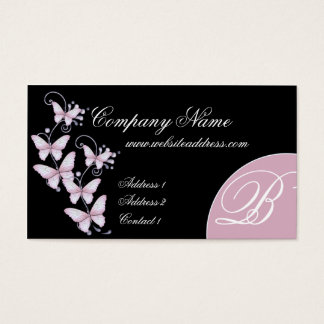 Pink/Purple Butterflies Monogram Business Card