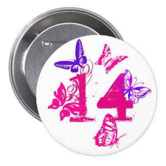 Pink, purple butterflies, pink '14' button, nine. button