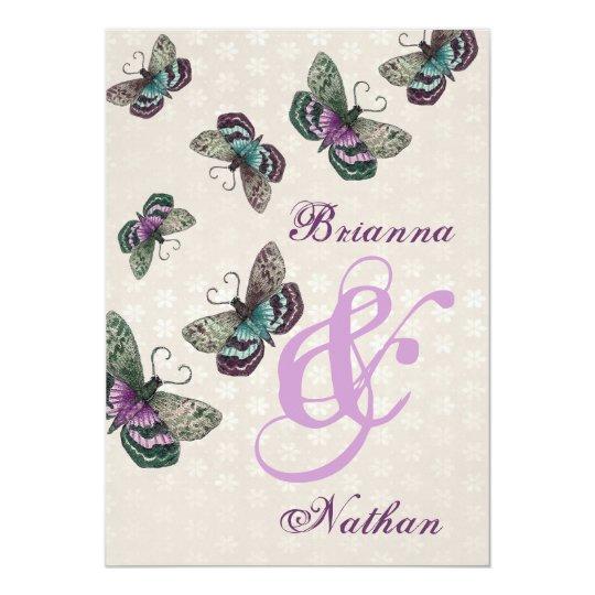 Pink Purple Butterflies Wedding Invitation