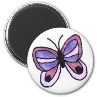 Pink & Purple Butterfly 2 Inch Round Magnet