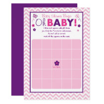 Pink & Purple Butterfly Baby Shower Bingo Card