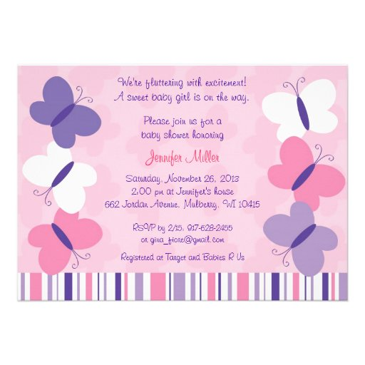 Purple Butterfly Baby Shower Invitations was very inspiring ideas you may choose for invitation ideas