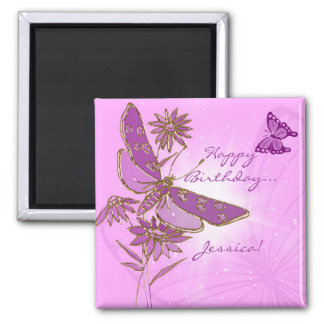 Pink Purple Butterfly Birthday Magnet
