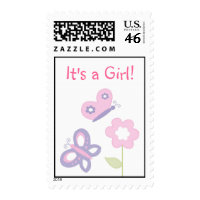 Pink & Purple Butterfly It's A Girl Postage Stamps