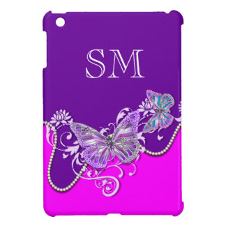 Pink purple butterfly monogram case for the iPad mini