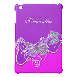 Pink purple butterfly monogram iPad mini case